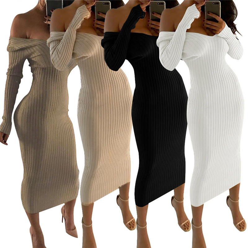 Sexy Deep V-Neck Knit Ribbed Dress Women Classic Elastic Off Shoulder Calf-Mid Length Graceful Lady Street Vestido Daily Clothes