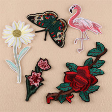 High Quality Iron-on Sew-on Patches Flamingo Butterfly Flower Rose Embroidered DIY Apparel Accessories