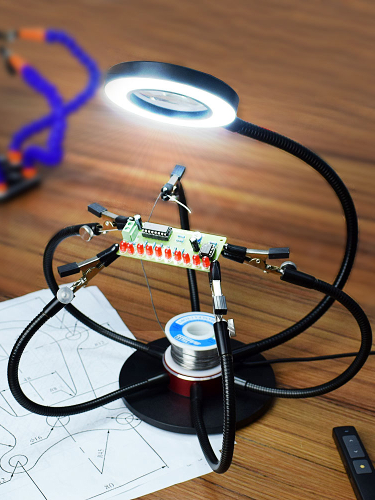 NEWACALOX Magnifying Glass Station Led-Lights Soldering-Iron-Holder Hand-Welding-Tool