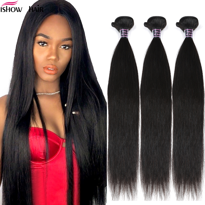 Ishow Malaysian Straight Hair Bundles 100% Human Hair Weave Bundles Natural Color Non-Remy Hair Extensions Buy 3 Or 4 Bundles
