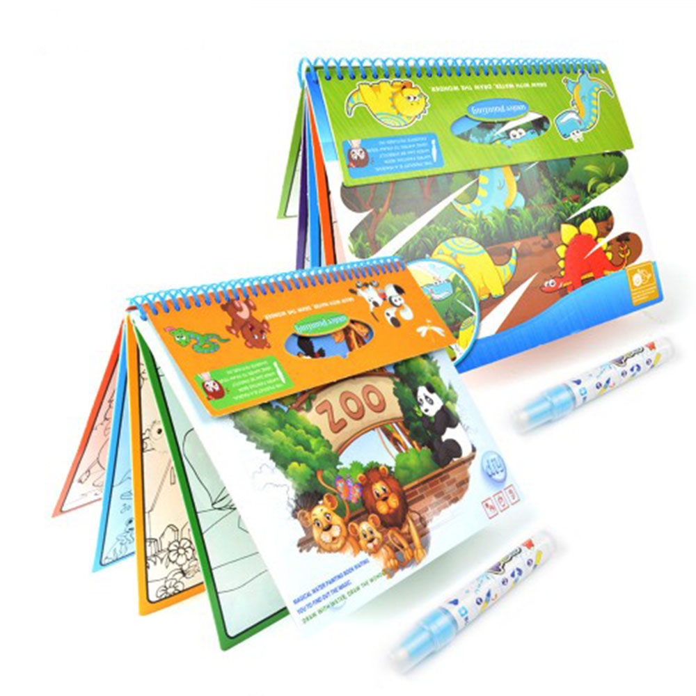 Magic Water Drawing Book Zoo Animal Dinosaurs Coloring Book Doodle Magic Pen Painting Drawing Board For Kids Educational Toys