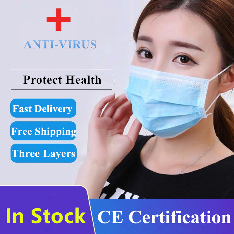 IN STOCK FAST SHIP Face Mouth Mask Anti Virus Disposable Mask 3 Layers Filter Dustproof Earloop Non Woven Mouth Protective Mask