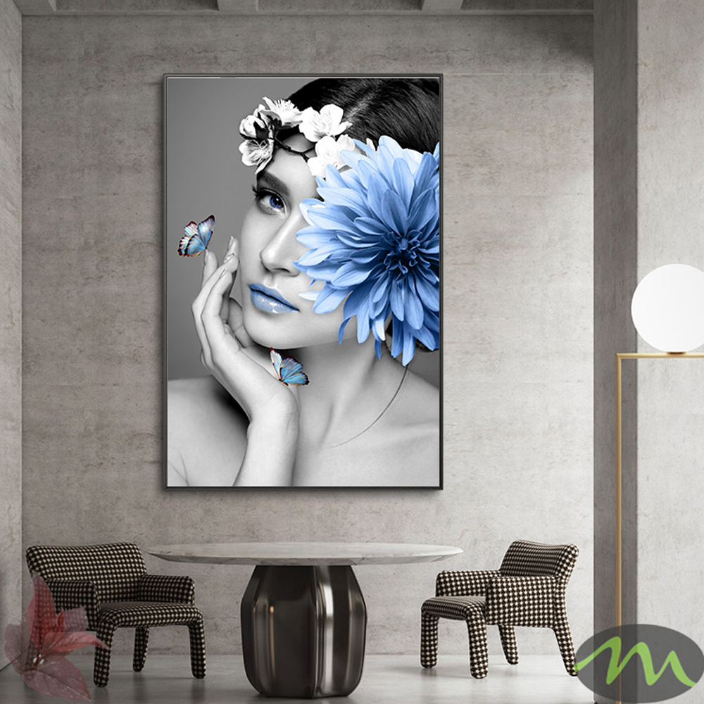 Nordic Modern Flower Woman Abstract Fashion Style Canvas Painting Art Print Poster Picture On Wall Living Room Home Decor