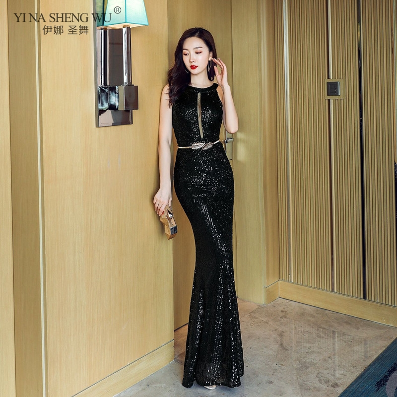 Sexy Backless O Neck Sequin Dress Women Hollow Mesh Mermaid Evening Gowns Women Sleeveless Elegant Long Party Dress Formal Gowns image