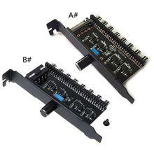 цена на PC 8 Channels Fan Hub Cooling Fan Speed Controller for CPU Case HDD VGA PWM Fan PCI Bracket Power By 12V SATA/4Pin Fan Control