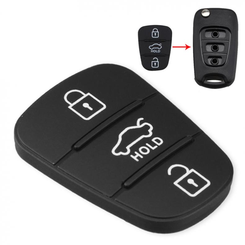 Reemplazo de almohadilla de goma de 3 botones para Hyundai Solaris Accent tufson l10 l20 l30 Kia Rio Ceed carcasa de llave de coche remota