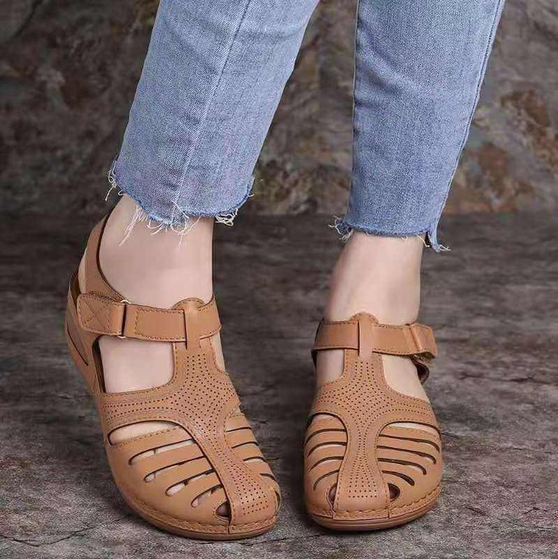 Kadın yaz deri bağbozumu sandalet toka rahat dikiş kadın ayakkabı kadın bayanlar platformu Retro Sandalias artı 35-43