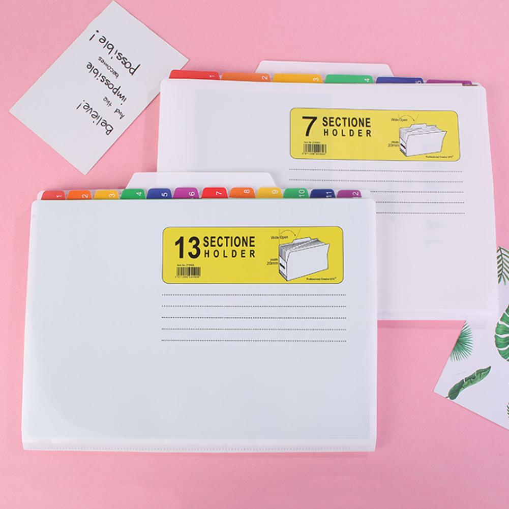 New File Folder 7 Pockets Innovative Practical Waterproof Colorful File Organizer For Exam Office