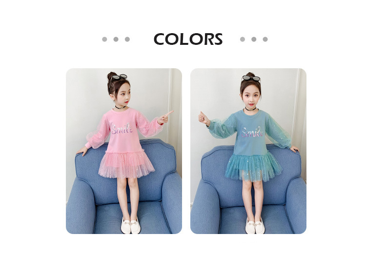 Boutique Kid Clothing 2020 Spring Little Girls School Dress Cotton O neck Sweater Dress Pink Long Sleeve Letter Dresses for Teen (2)