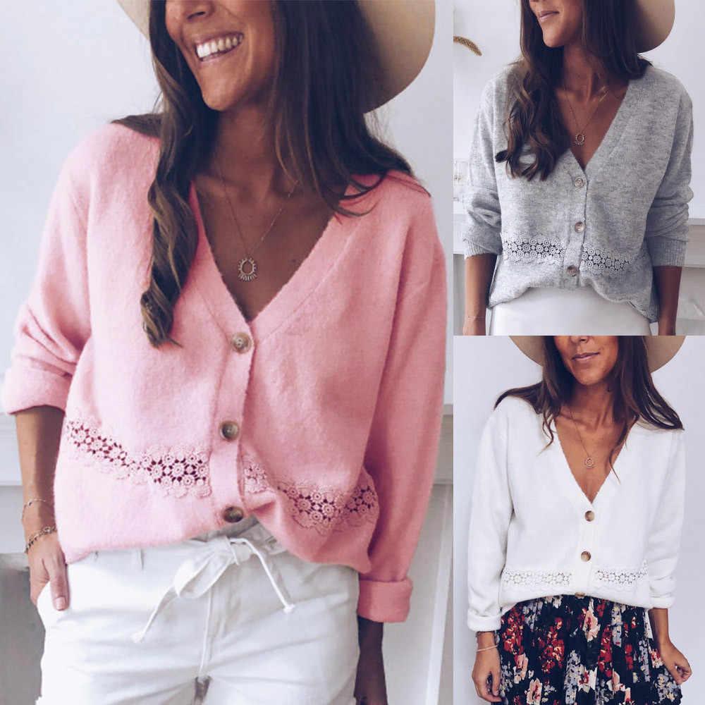 Pull femmes vêtements solide col boutonné chandail tricoté à manches longues décontracté tricot en coton Cardigan sueter mujer invierno 2019
