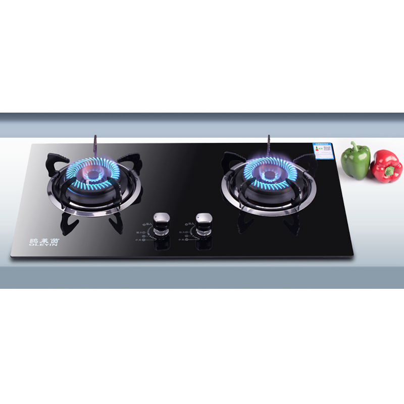 Gas cooktop,with 2 Burners for Domestic Natural Gas Stove-Tempered Glass Panel with Automatic flameout Protection Table top Black