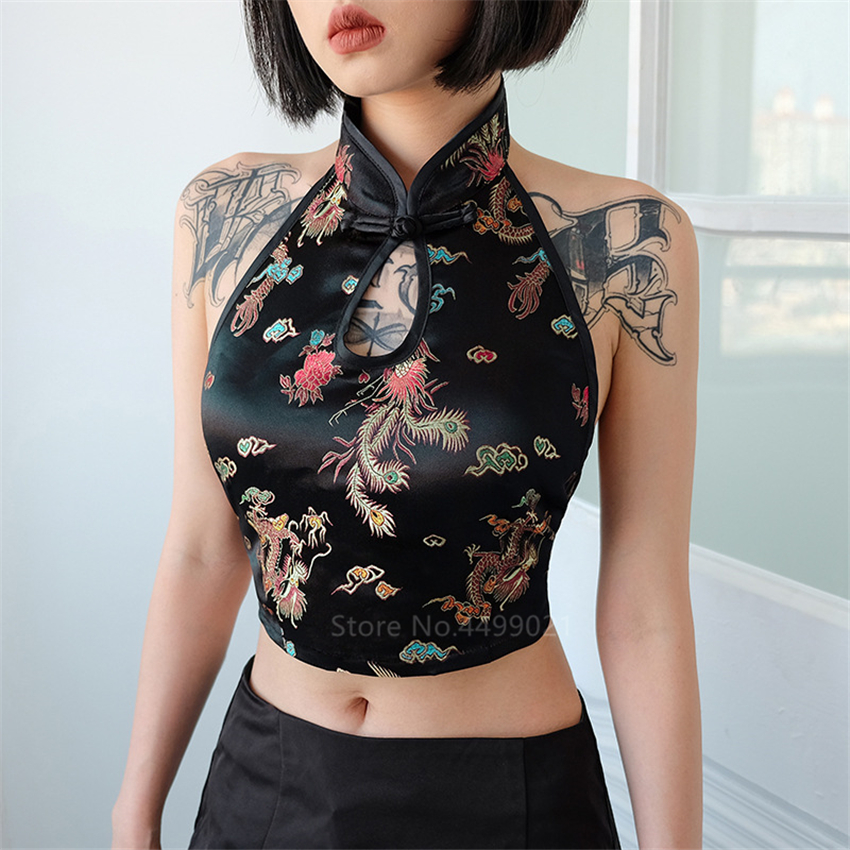 Sexy Woman Cheongsam Tops Chinese Traditional Dragon Embroidery Backless Halter Vintage Party Wrap Crop Top Vest Oriental Qipao