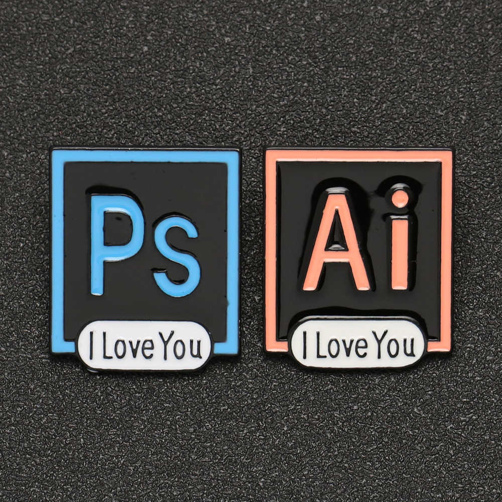 PS AI I Love You broche Pin Adobe Photoshop Illustrator icono esmalte insignia diseñador artista divertido dibujos animados joyería amigo al por mayor