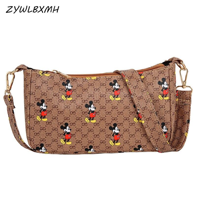ZYWLBXMH Mickey Handbag Solid Color Shoulder Bag Waterproof PU Leather Crossbody Bag Women Bag Carteras Mujer De Hombro Y Bolsos