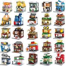 City Mini Street Cafe Food Retail Market Store Chinatown Architecture Building Blocks Bricks Sets Toys For Christmas Gifts