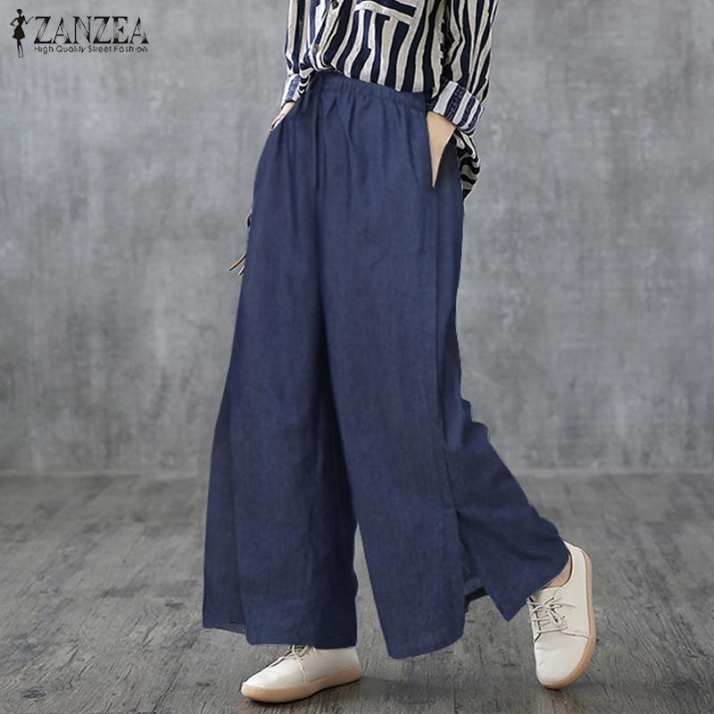 ZANZEA 2020 New Fashion Women Wide Leg Pants Denim Blue Cotton Linen Long Trousers Casual Loose Pockets Solid Bottoms Streetwear