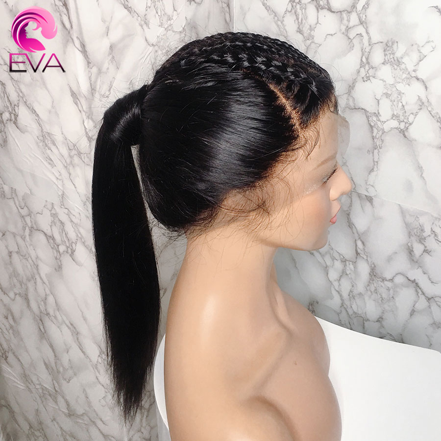 Eva Hair Straight Full Lace Human Hair Wigs Brazilian Remy Bleached Knots Hair Pre Plucked 150% With Baby Hair For Black Women