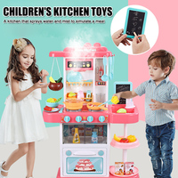 New Pretend Play Kitchen Sink Toys With Play Cooking Stove Pot And Pan With Spray Realistic Light And Sound Dish Rack Dr