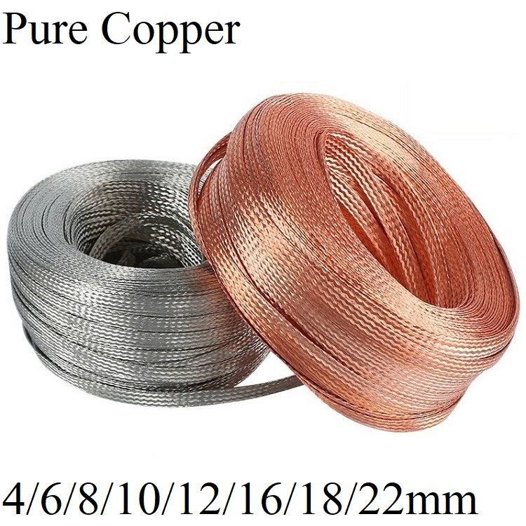 Tinned Copper Braided Sleeve 4 6 8 10 <font><b>12</b></font> <font><b>16</b></font> 18 22 mm Metal Sheath Anti interference Screening Audio Signal Wire Cable Shielding image