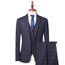 ( Jacket + Vest + Pants )three-piece Male Formal Business Plaids Suit For Men's Fashion Boutique Plaid Wedding Dress Blazer Men