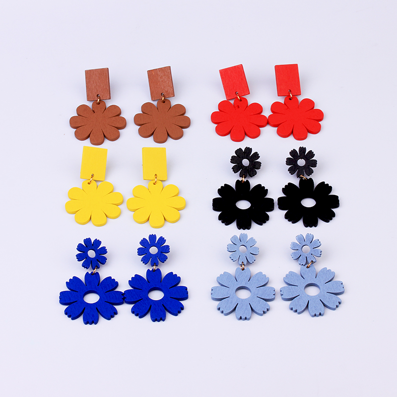 Fashion Korean Earrings for Women Dangle Red Yellow Blue Trendy Jewelry Drop Statement Colorful Flower Wooden Earrings Gifts
