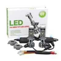 Pair H4 H7 Bi LED Mini Projector Lens 90W 20000LM Bulbs G7 Headlight Conversation Kit High Low Beam White 5500K Headlamp (LHD)