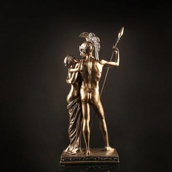 Antique Roman Lovers Warrior Sculpture Handmade Resin Statue 4