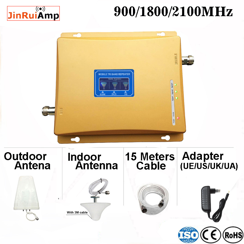 Free Shipping 2g 3g 4g Tri Band Signal Booster 900 1800 2100 GSM WCDMA UMTS LTE Cellular Repeater Gsm 900/1800/2100mhz Amplifier