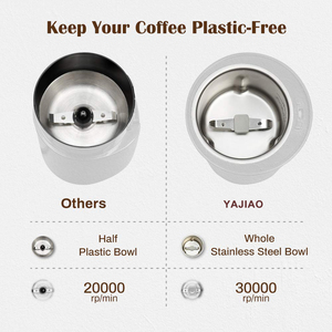 Image 4 - YAJIAO Coffee Machine Electric Grinder Bean Spice with Stainless Steel Blade Detachable Power for Coffee Beans Grounds Grains