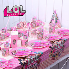 Lol surpresa bonecas festa de aniversário utensílios de mesa decorações de festa de aniversário crianças palhas de papel placas de papel lol fontes de festa