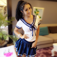 2019 japanese style student girls school uniform sailor shirt+pleated skirt set woman cosplay costumes sexy navy jk suit