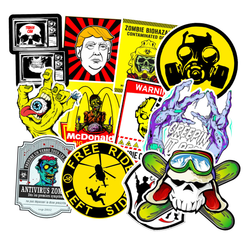 50Pcs Zombie Style Graffiti Sticker Cartoon Waterproof Cool For Laptop Phone Luggage Bike Wall Decal Skateboard Toys Stickers F3