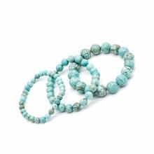 2020 New Natural Turquoises stone beads bracelets for women round bracelet jewelry with pendant vintage Bracelets