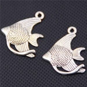 WKOUD 10 шт Серебряный цвет тропическая рыба Подвеска океан амулеты пляжные амулеты DIY металлические ювелирные аксессуары 23*31 мм A437