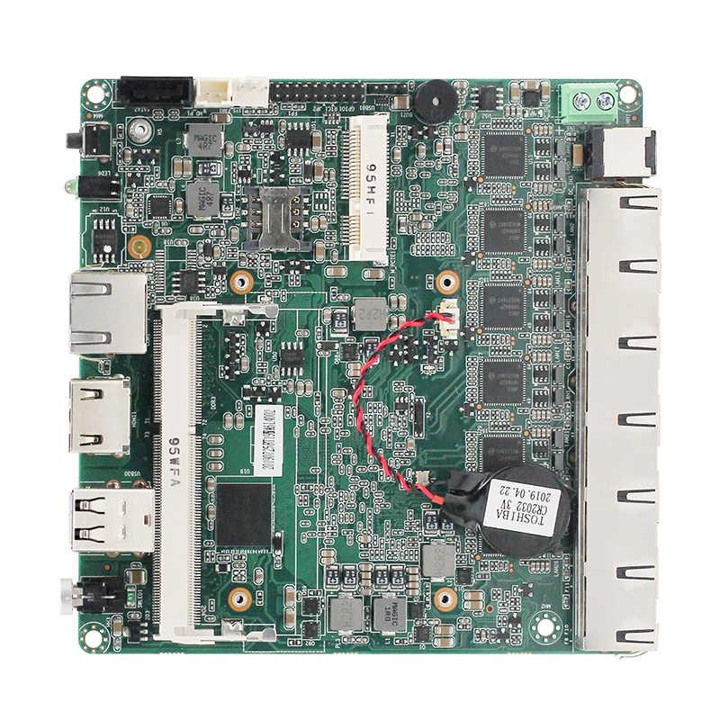 Quạt không cánh Mini PC Máy tính cấu Bo mạch chủ J1900 Bộ vi xử lý 6 * LAN hỗ trợ pfsense VPN router