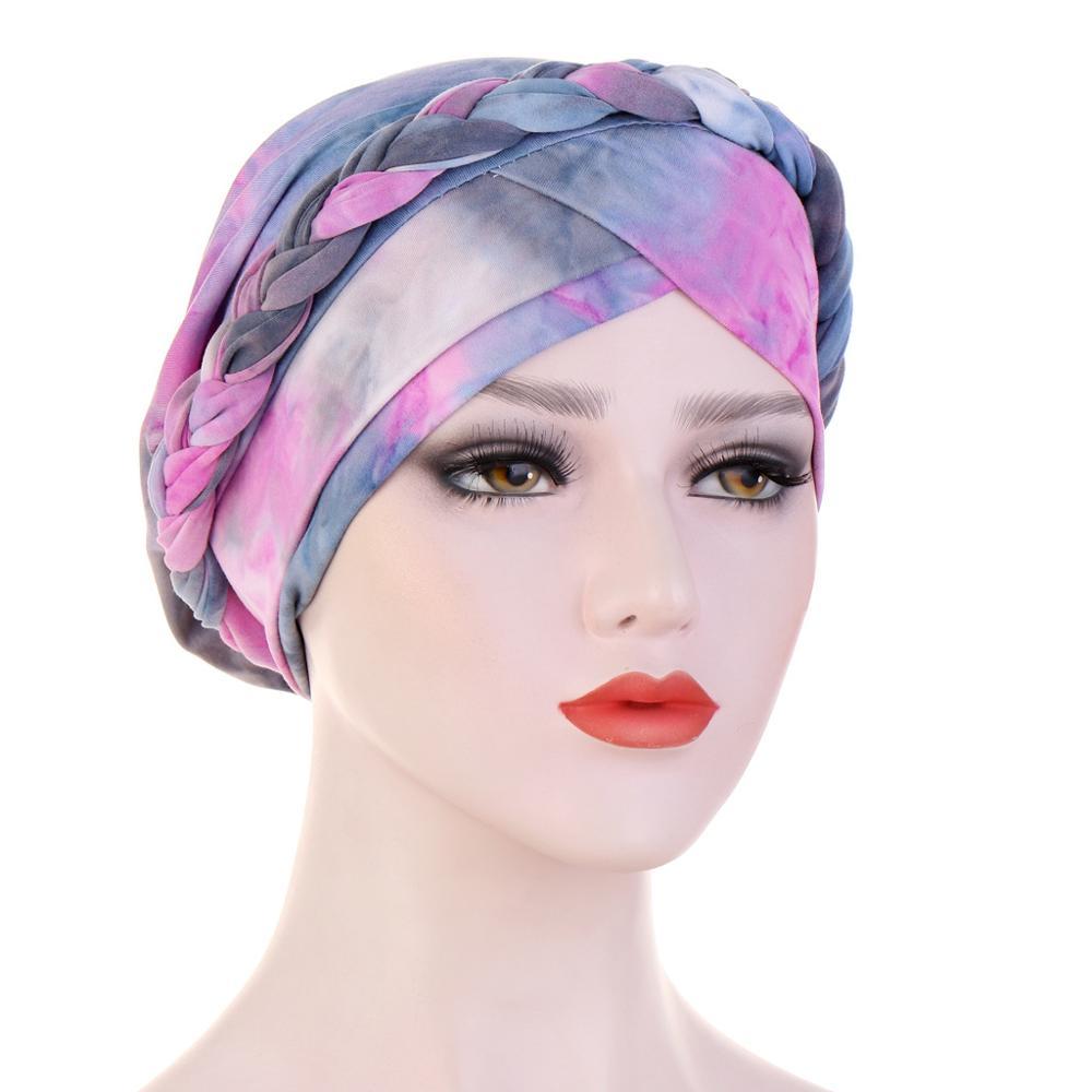 Градиентный цвет тюрбан шапочки под хиджаб мягкая хлопковая оплетка головной платок тюрбан мусульманская шапка шарф Тюрбан нигерийский тю...