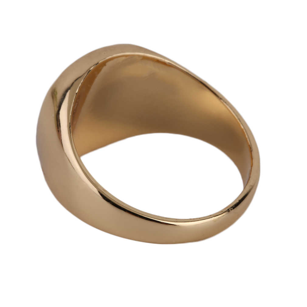 GENBOLI ไม่เคย Fade แหวนโลหะทอง-สีดำ ONYX Stone หมั้นงานแต่งงานแหวน Electroplating ขัด A35