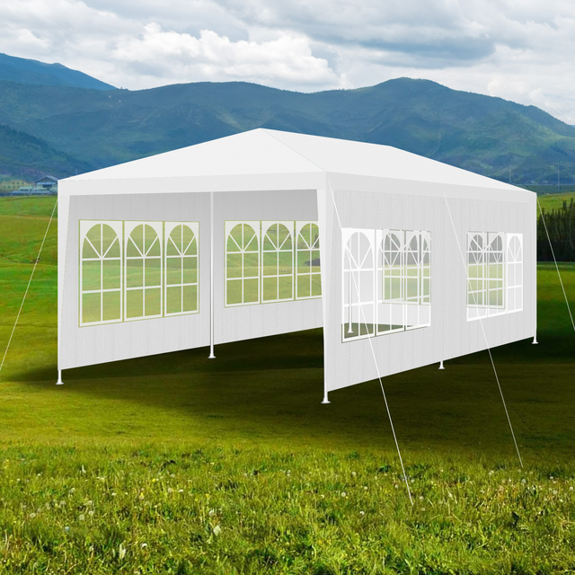 3x6m Waterproof Outdoor Tent for Garden Party Gazebo Marquee with 6 Movable Sidewalls Camping Picnic Canopy