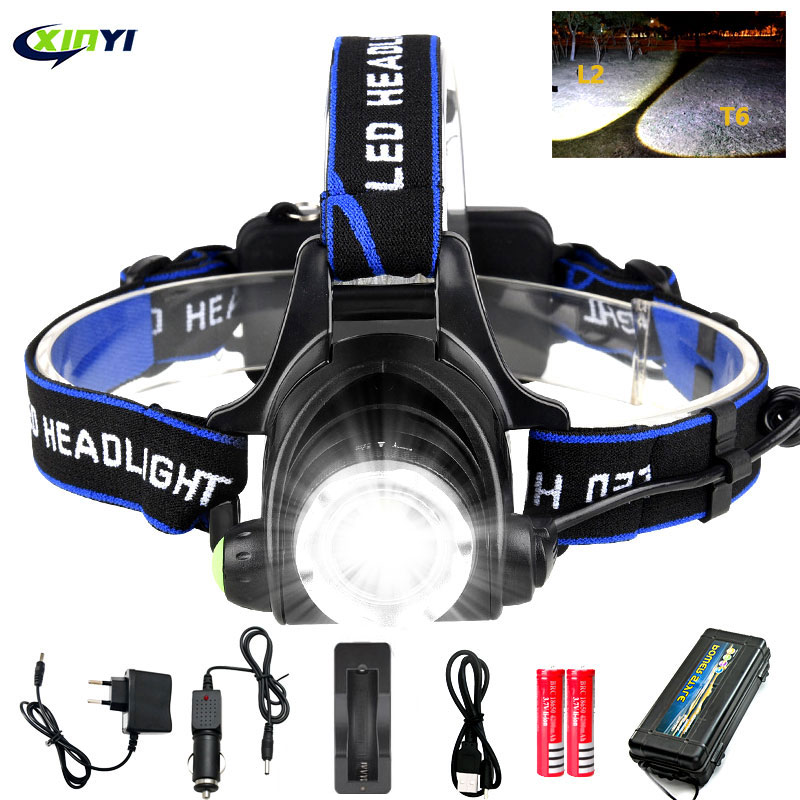 8000lumens Led Headlamp L2 T6 Zoomable Headlight Head Torch Flashlight Head lamp by 18650 battery for Fishing Hunting Headlamps