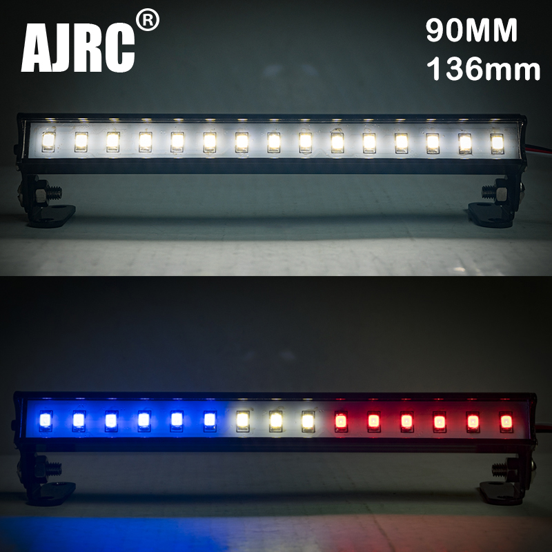 Suitable For 1/10 Simulation Climbing Car TRX-4 SCX10 II AXIAL 91-136MM White Red Blue Metal Top Row Light CH3 Control Light