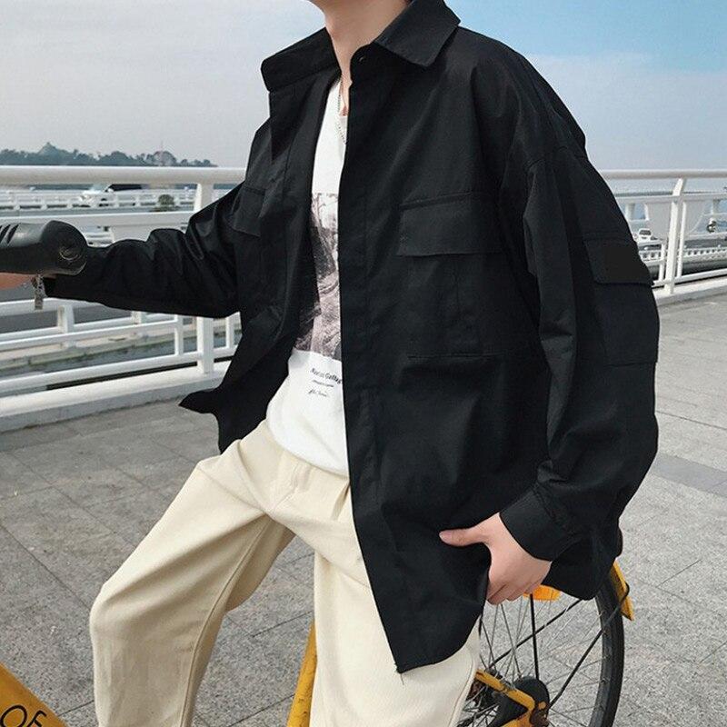 Oversize Harajuku Korean Pocket Men's Black Casual Thin Shirt Turn-down Collar Men Shirts 2020 Spring Summer Solid Male Top
