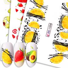 Sommer Obst Wasser Decals Obst Kiwi Banana Zitrone Erdbeere Designs Nagel Aufkleber Wraps Slider Dekoration Maniküre 2020 cheap Eine Einheit CN (Herkunft) 6 2cm*5 3cm 49855 Sticker Aufkleber Paper 1 Pc Water Decals