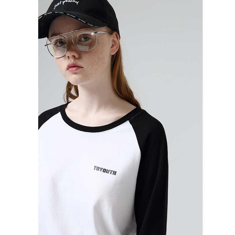 Camisetas de algodón de otoño Toyouth de Color con letras impresas mujeres Tops básicos de manga larga de retazos negro camiseta de mujer