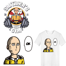 ONE PUNCH-MAN Iron on Anime Patches Stripes Thermo Stickers Clothes Applique Iron-on Transfers for Clothing DIY T-shirt Jeans