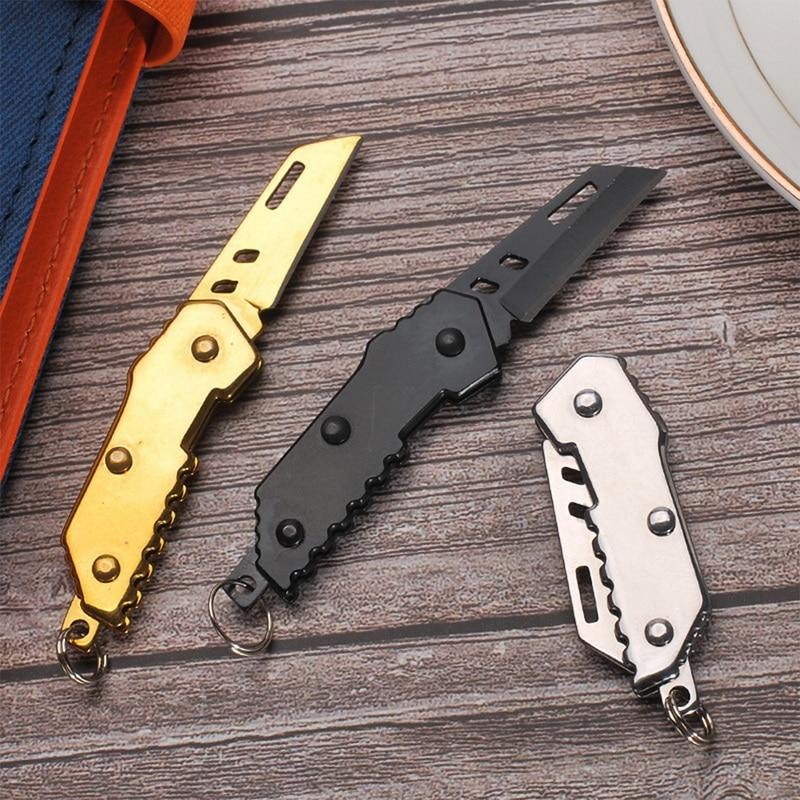 Lâmina mini faca militar rolamento faca de aço faca aposentado dobrável chaveiro acampamento caminhadas ao ar livre ferramentas peças pesca