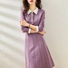 Vestidos elegantes para as mulheres manga longa malha vestido roxo moda dentro magro a-line vestidos elásticos longa noite elegante