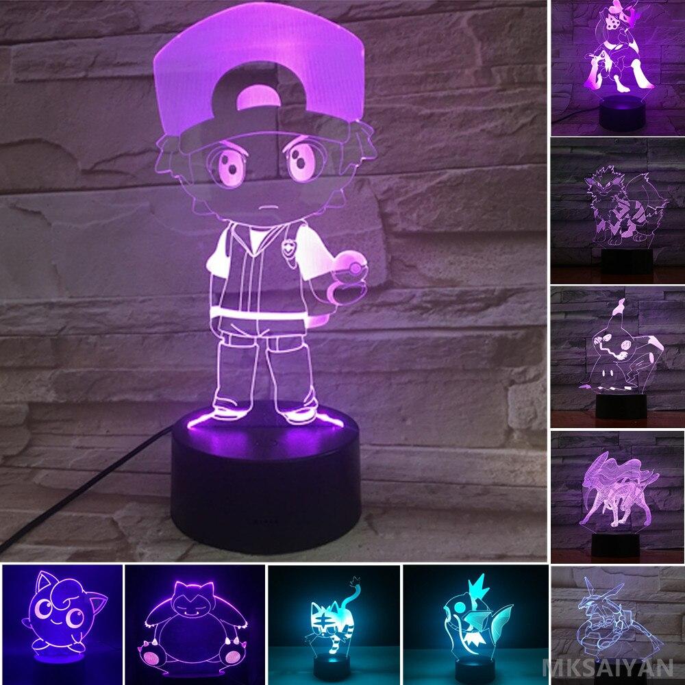 Pokemon 3D Led Light Anime Figure Ash Ketchum Magikarp Snorlax Lighting Decor Action Toys Set Jigglypuff Lamp Model Figure Doll