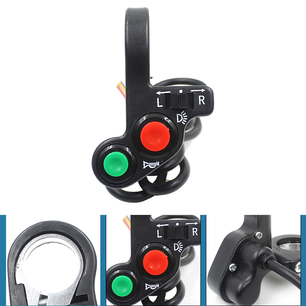 Motorcycle Electric Bike/Scooter Light Turn Signal&Horn Switch ON/OFF Button W/Red Green Buttons 22mm Dia Handlebars