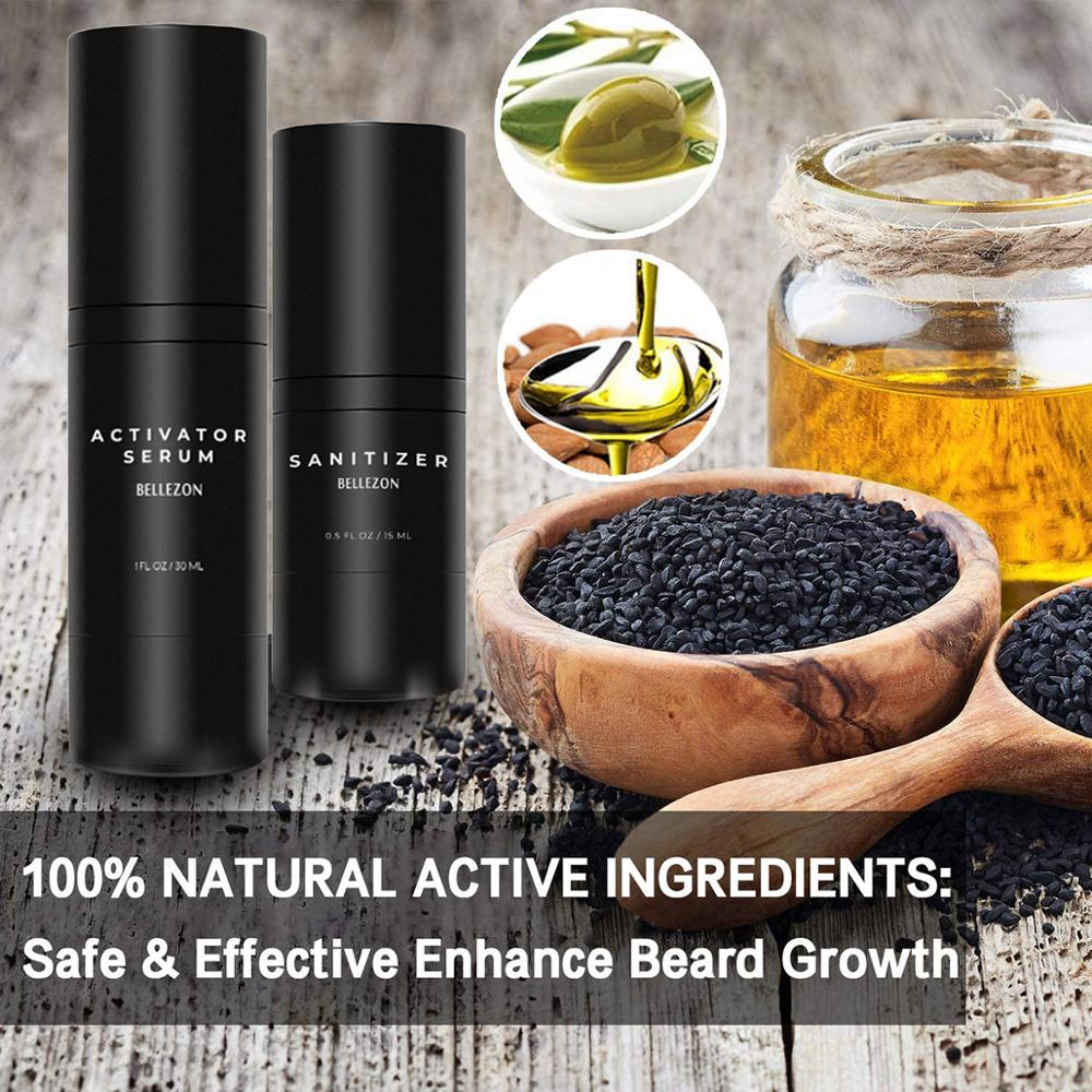 Bellezon Beard Growth Kit Hair Growth Enhancer Thicker Oil Nourishing Essence Leave-in Conditioner Beard Care with Comb 2