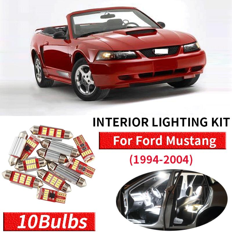 1999-2004 Ford Mustang White Interior LED Lights Package Kit